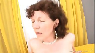 horny granny is fucked by this guy as you hear her moan