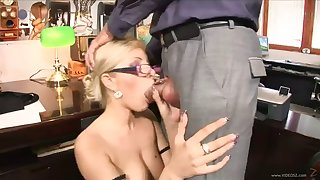 hot office sex with a kinky blonde and one of her coworkers