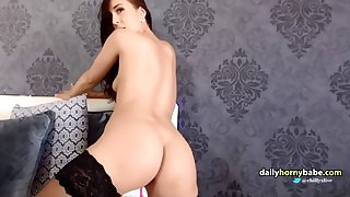 european tall brunette chick with oiled body masturbates