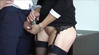 sexy milf in stockings jerking off her boss cock on vacation
