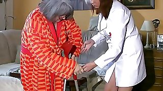 BBW chubby Nurse masturbate with older Granny